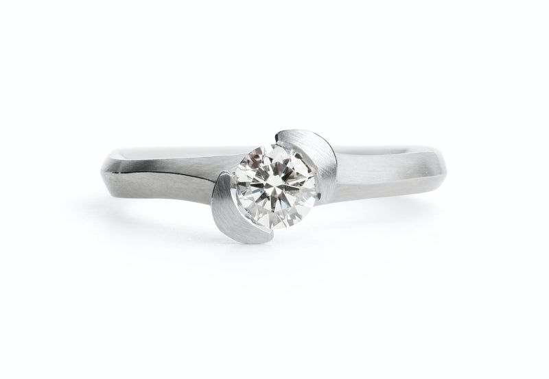Hand Carved Asymmetric platinum and white diamond Arris Ring-McCaul