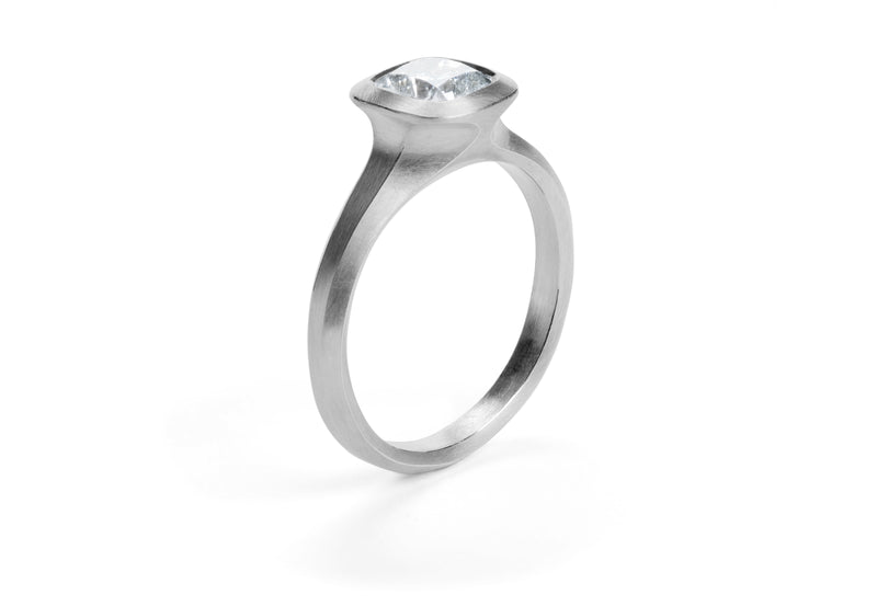 Arris Contemporary engagement ring with cushion shaped diamond-McCaul