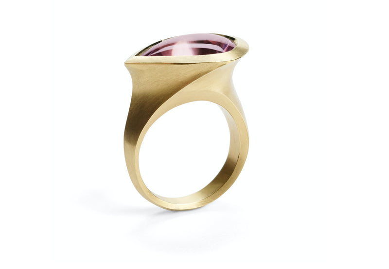 Carved Yellow Gold Arris Cocktail Ring with Fancy Cut Teardrop Amethyst-McCaul