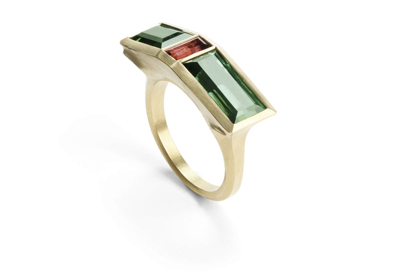 Carved yellow gold arris ring with green and pink tourmalines-McCaul