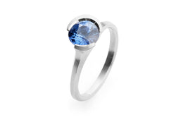 Arris carved platinum and sapphire ring