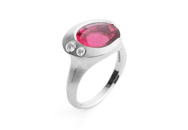 Carved platinum and rubellite tourmaline Arris cocktail ring with white diamonds