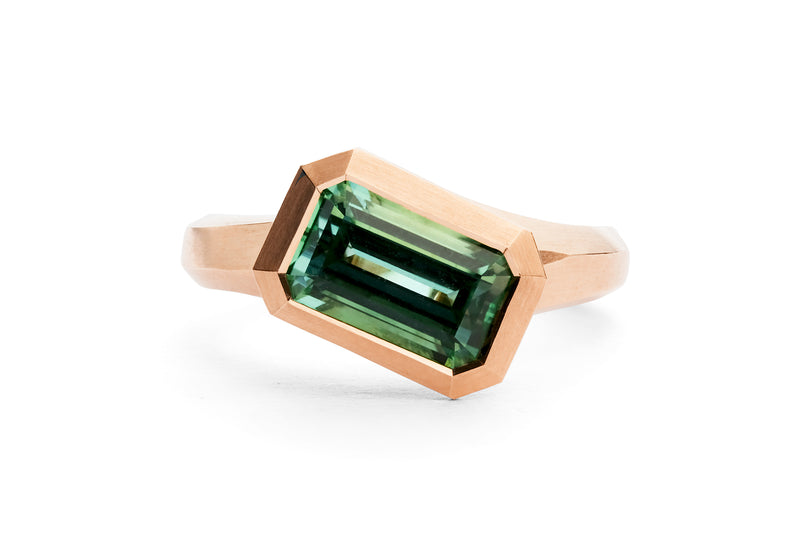 Arris hand carved rose gold and mint green tourmaline ring