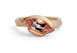 Arris carved rose gold ring with marquise morganite