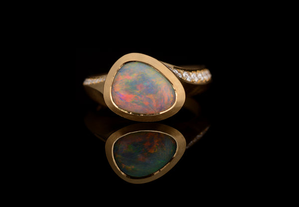Lightening Ridge Opal & diamond set Arris ring