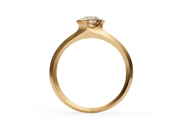 Arris ring rose gold round cognac diamond