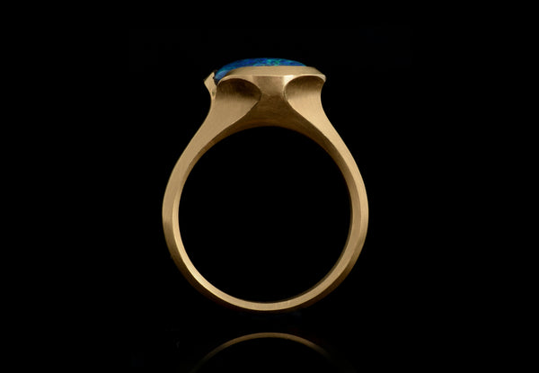 Carved yellow gold and black opal Arris ring-McCaul