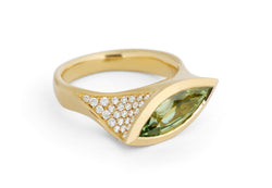 Marquise green garnet and diamond ring in 18 carat gold-McCaul