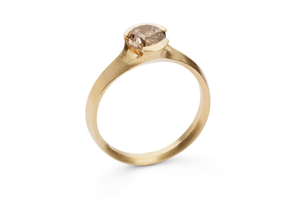 Hand carved rose gold Arris ring with cognac diamond