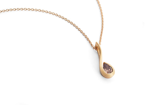 Pear shaped cognac diamond set in 18ct rose gold twist pendant
