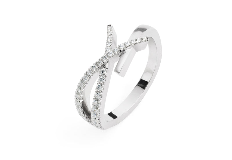 Platinum and diamond crossover ring