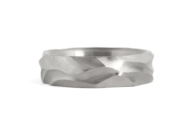 Dune - Hand carved platinum gold wedding band