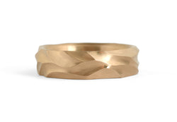 Dune - Hand carved mens 18ct rose gold wedding band