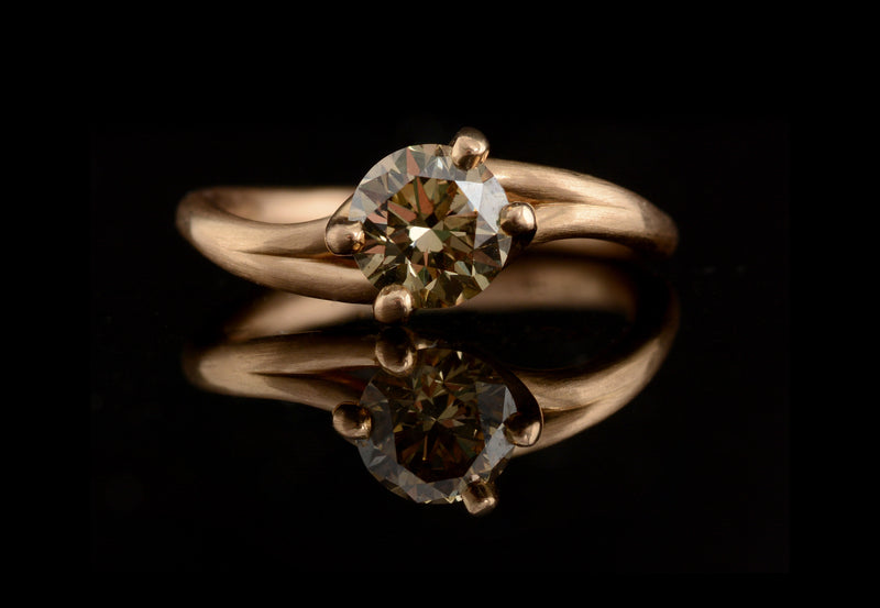 'Embrace' 18ct rose gold and cognac diamond ring-McCaul