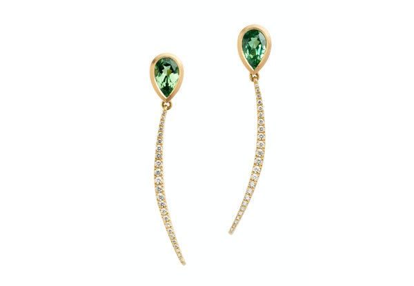 Forged gold tsavorite garnet and diamond drop earrings-McCaul