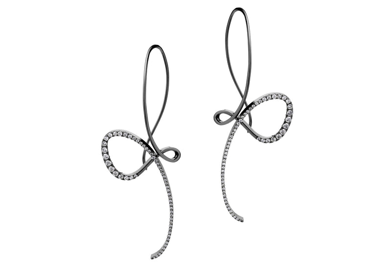 Forged white gold black rhodium diamond drop earrings