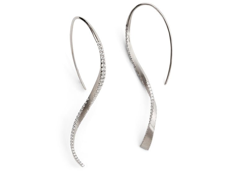 Hand-forged white gold and diamond twisted drop earrings