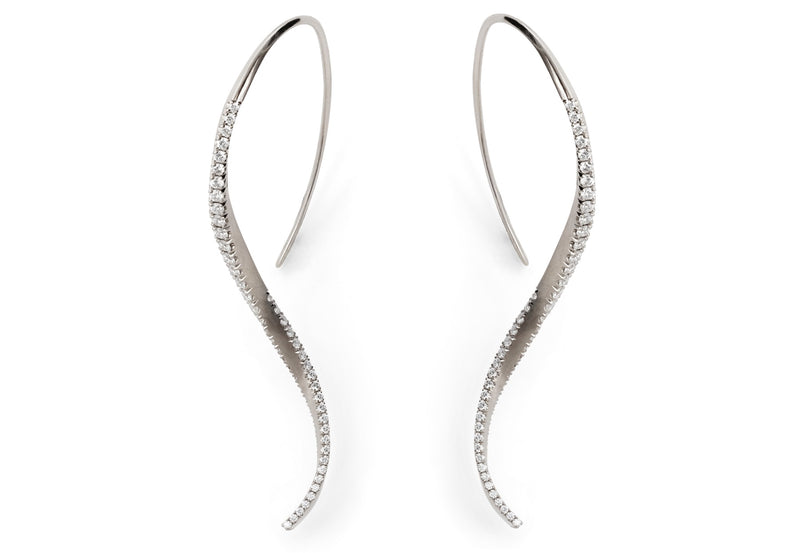 Hand forged white gold and diamond twisted drop earrings