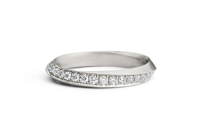 Mobius band platinum pave white diamonds