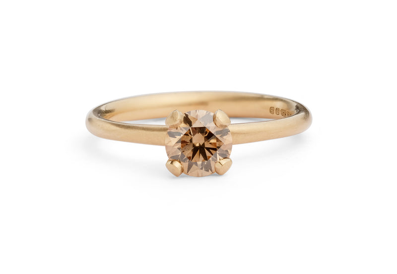 Modern 18ct rose gold 4-claw cognac diamond engagement ring-McCaul