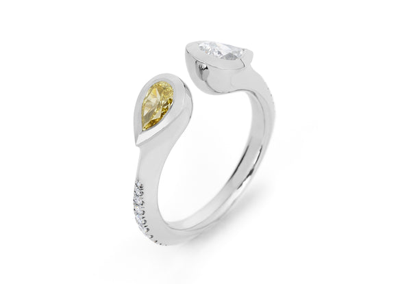Open platinum ring set with yellow and white diamonds-McCaul