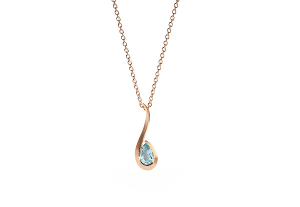 Rose gold and pear shaped Paraiba tourmaline twist pendant