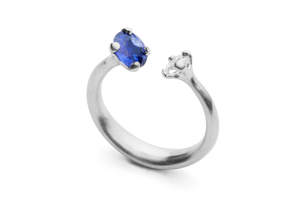 Platinum two-stone diamond and sapphire engagement ring