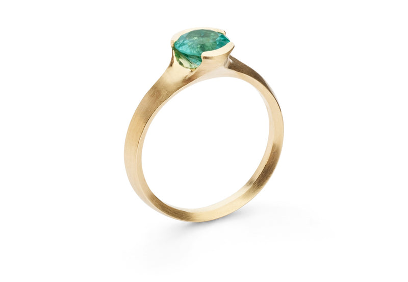 Carved rose gold Arris ring with Paraiba tourmaline
