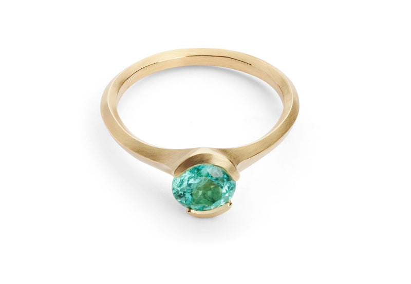 Carved 18ct rose gold Arris ring with Paraiba tourmaline