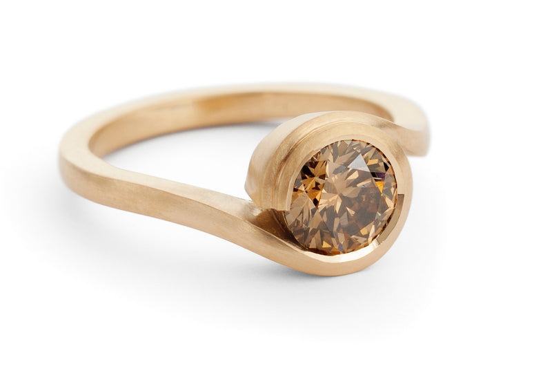 'Wave' satin finished rose gold and cognac diamond engagement ring
