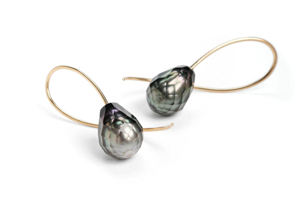 Rose gold faceted grey South Sea pearl drop earrings