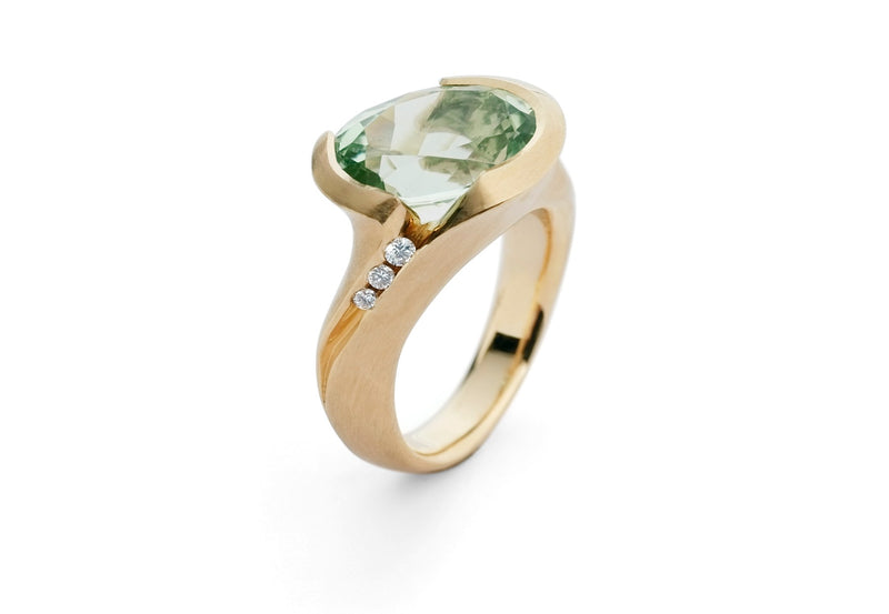 Rose gold and mint green tourmaline carved ring