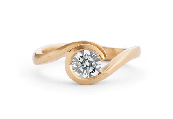Rose gold and white diamond Wave engagement ring