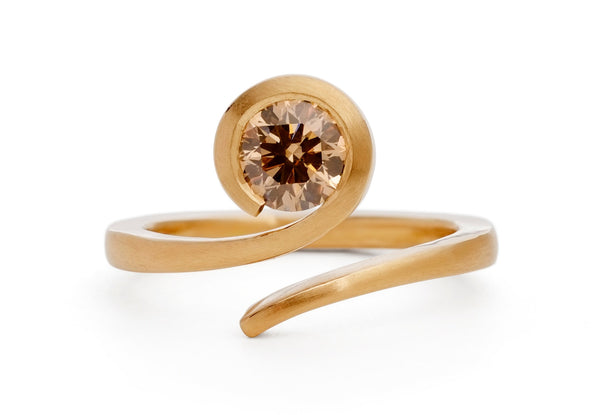 'Twist' 18ct rose gold and round cognac diamond engagement ring