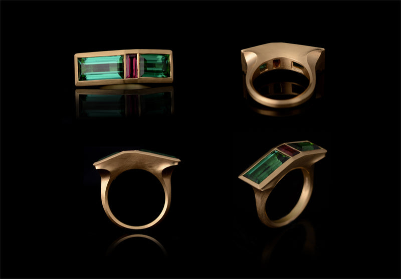 Carved yellow gold arris ring with green and pink tourmalines