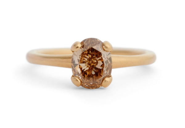 Oval cognac diamond and rose gold 4 claw solitaire engagement ring