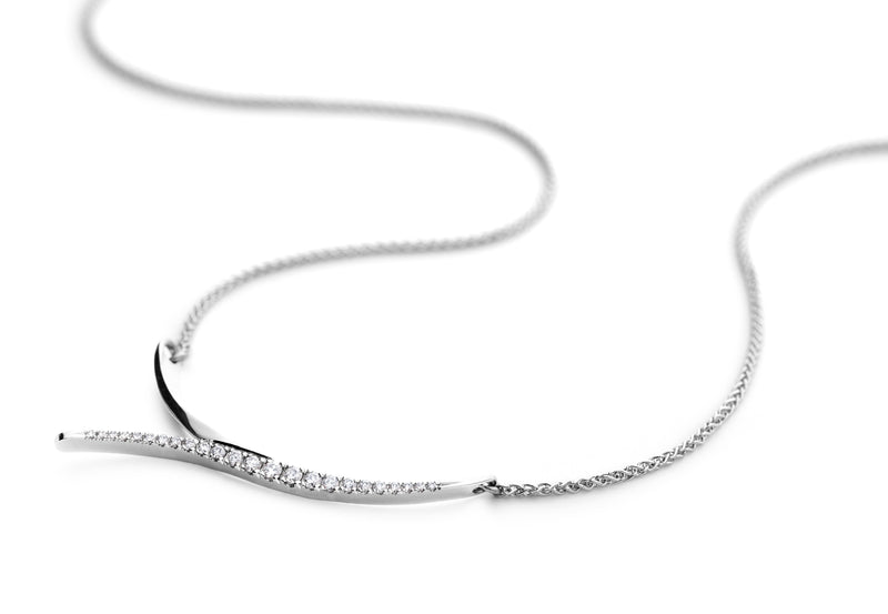 Serif white gold and diamond pendant