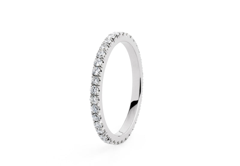 'Thread' fine platinum diamond set wedding/eternity bands
