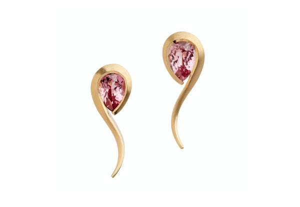 Rose Gold and Pink Spinel Twist Earrings-McCaul