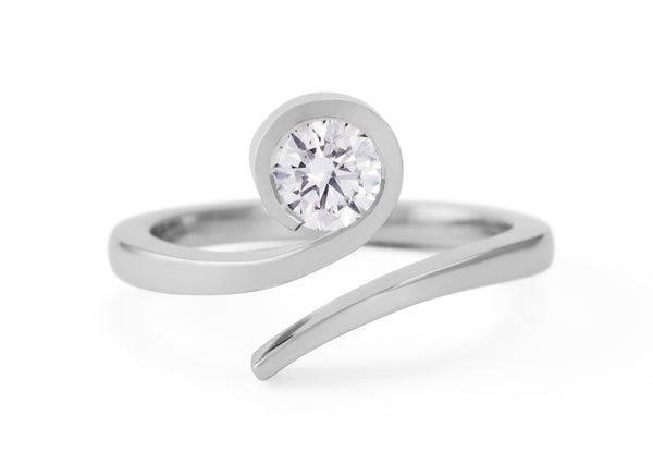 'Twist' round white diamond and platinum engagement ring