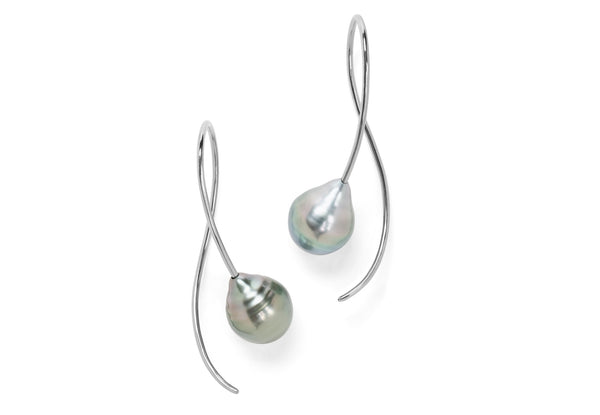 White gold and light grey South Sea pearl drop earrings