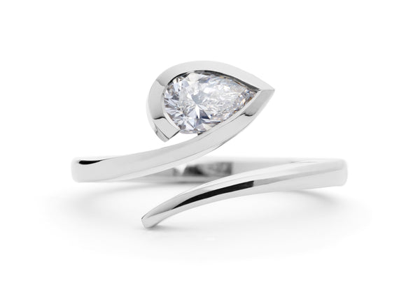 White pear cut diamond 'Twist' engagement ring