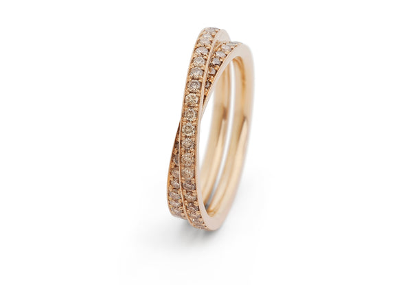 'Wrapover' eternity ring in rose gold with cognac diamonds