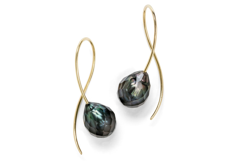 18 carat gold and faceted Tahitian pearl drop earrings-McCaul