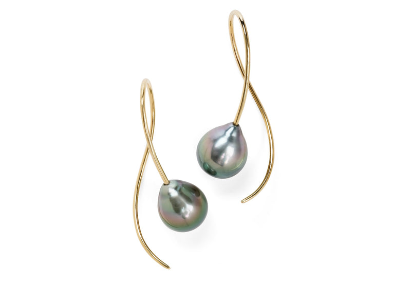 Yellow gold and dark grey South Sea pearl drop earrings