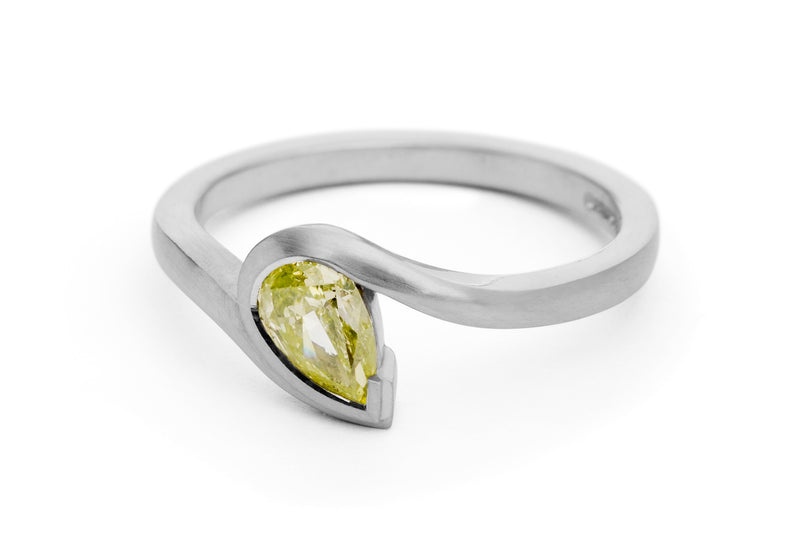 Yellow pear-shaped diamond and platinum 'Wave' ring-McCaul
