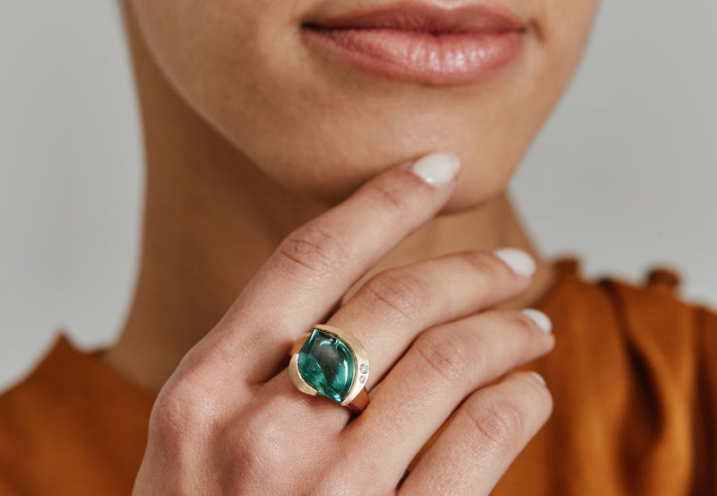 Carved rose gold ring with green tourmaline and diamonds-McCaul