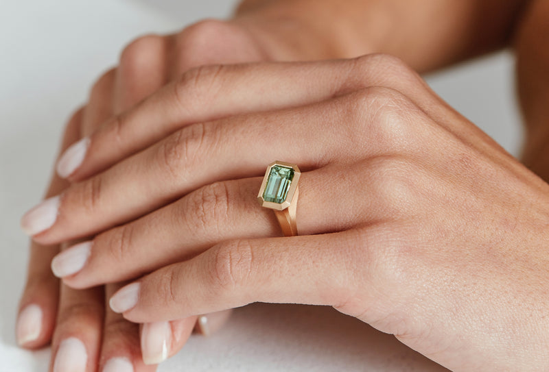 Arris carved rose gold ring with emerald-cut mint tourmaline-McCaul