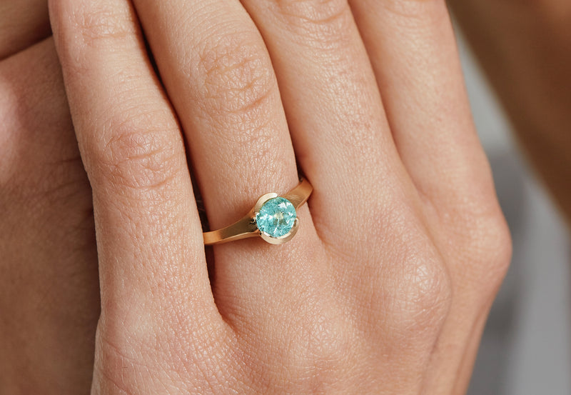 Hand carved rose gold Arris ring with Paraiba tourmaline-McCaul