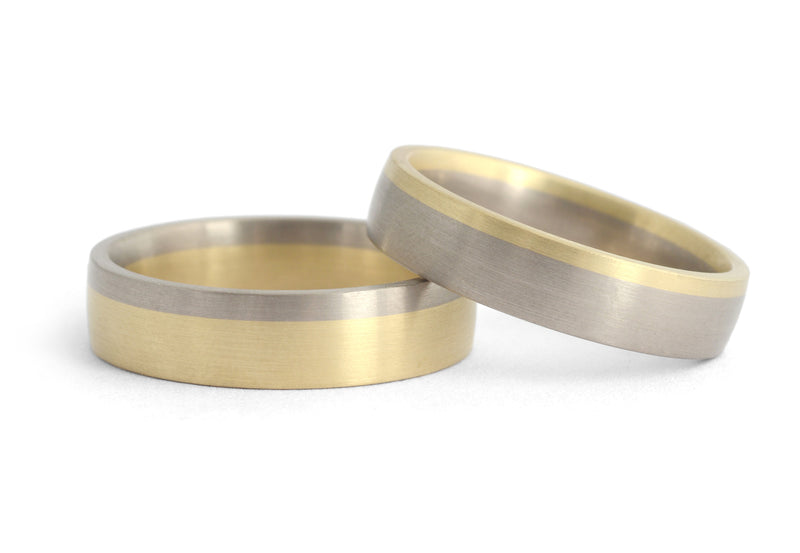 Bi-metal men's wedding bands